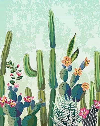 Pintura De Bricolaje Por Números Para Adultos Principiantes Niños Lienzo Kit De Pintura Al Óleo Arte De Cactus Artesanía Decoración De La Pared Del Hogar Pigmento Acrílico DIY Frame