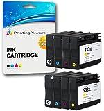 Printing Pleasure 8 Compatibles HP 932XL HP 933XL Cartuchos de Tinta Reemplazo para HP Officejet 6100 6600 6700 7110 7600 7610 7612 - Negro/Cian/Magenta/Amarillo, Alta Capacidad