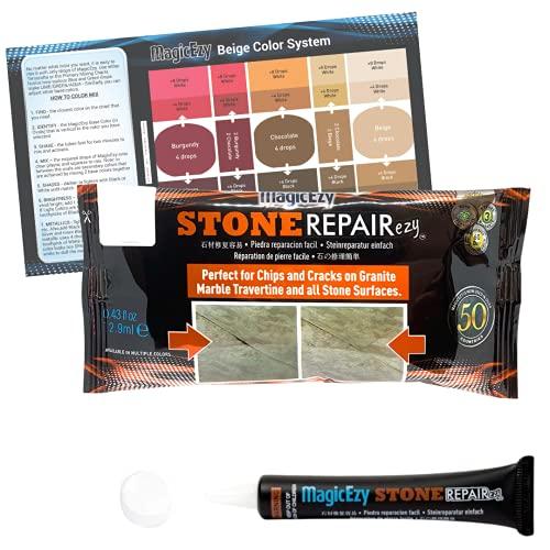 MagicEzy Stone Fix - Kit de reparación de grietas de granito y mármol - Rellena y daña los colores rápidamente (Blanco (White))