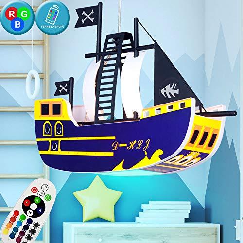 Hänge Lampe Kinder Leuchte Piraten Schiff Spielzimmer Fernbedienung im Set inklusive RGB LED Leuchtmittel