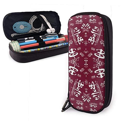 XCNGG Buffy Geschenkverpackung Leder Bleistiftetui Große Kapazität Bleistiftbeutel Große Bleistifthalter Make-up-Tasche Doppelte Reißverschlüsse für Teen Boys Girls Schüler Stifte
