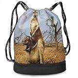 OKIJH Mochila Mochila de Ocio Mochila con cordón Mochila Multifuncional Bolsa de Gimnasio Gymsack Drawstring Bag Sackpack Hippo Kangaroo Sport Cinch Pack Simple Bundle Pocke Backpack For Men Women