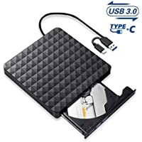 Grabadora CD/DVD Externa,Lector Unidades de Discos Externos USB 3.0 Tipo C, Ultra Slim Disquetera CD Player Rewriter para Ordenador Portátil, Computadora, PC Compatible con Win10/8/7/ Linux/Mac OS