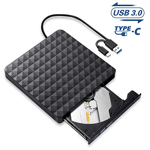 Externe CD DVD Laufwerk,USB 3.0 Type-C Tragbar CD/DVD/ROM Optische Laufwerke Spieler,Highspeed Datentransfer Brenner Recorder für Laptops,Desktops,PC Kompatibel mit Windows 10/8/7/Linux/Mac OS