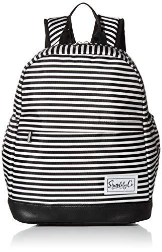 Mini mochila térmica con correas acolchadas y bolsillos laterales para bebidas (rayas blancas y negras, poliéster)