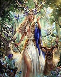DIY Oil Painting kit, Paint by Numbers kit for Kids and Adults - Forest Queen 16x20 inches (Framed)