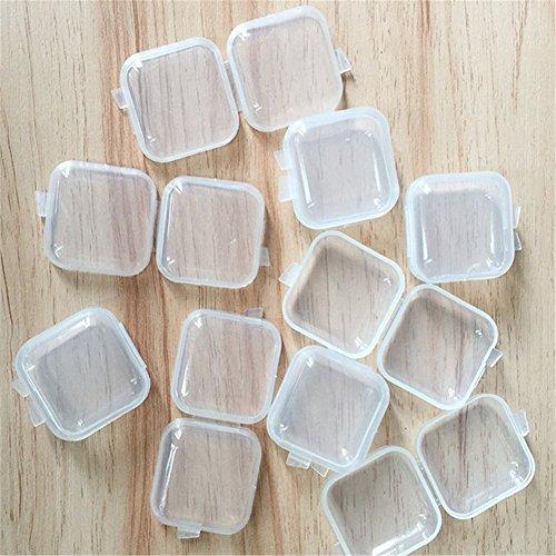Milopon 10x Ohrstöpsel Box Gehörschutzstöpsel case Mini Kunststoffbox Transparent für Ohrstöpsel Medikamenten Fischhaken kopfhörer 3.5 * 3.5CM