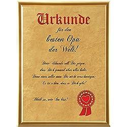 Urkunde für den besten Opa der Welt … (Elefantenhautpapier + Bilderrahmen)