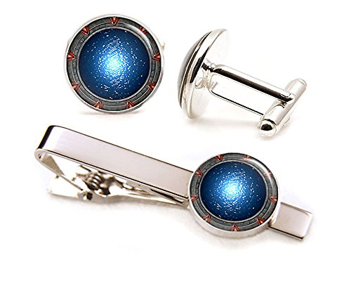 SharedImagination Stargate Cufflinks, Stargate SG-1 Tie Clip, Stargate Atlantis Cuff Links, Stargate Universe Wedding Jewelry