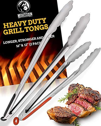 Grill Tongs for Cooking BBQ - Heavy Duty Grilling Tongs for Cooking & Serving Food in The Sizes You Need - 12 & 16' - Long Locking Stainless Steel Tongs for Kitchen & Barbecue - No More Burnt Hands