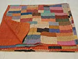 Tribal Asian Textiles ShalinIndia-Copriletto in puro cotone per letto matrimoniale Kantha Kantha-Trapunta per punto Letto matrimoniale, stile indiano Copriletto reversibile per letto matrimoniale, trapuntato da tavolo