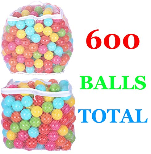 BalanceFrom 2.3-Inch Phthalate Free BPA Free Non-Toxic Crush Proof Play Balls Pit Balls- 6 Bright Colors in Reusable and Durable Storage Mesh Bag with Zipper, C. 600-Count