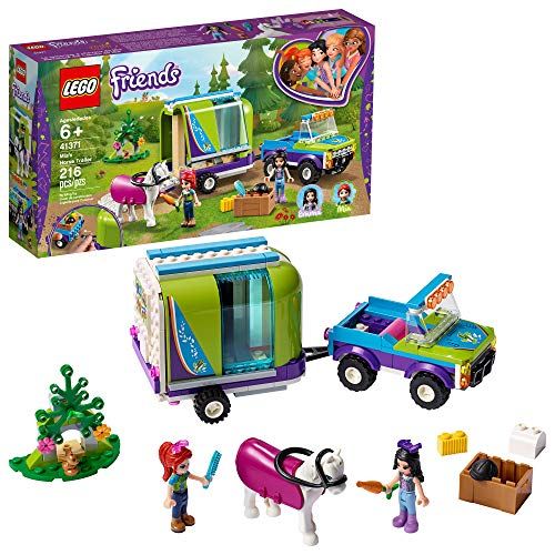LEGO Friends Mia's Horse Trailer 41371 Building Kit with Mia and Emma Mini Dolls Includes Toy Truck, Horse, and Rabbit for Creative Play (216 Pieces)