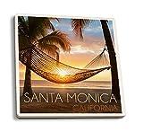 Juego de 4 posavasos de goma para bebidas, Santa Mónica, California, palmeras y...