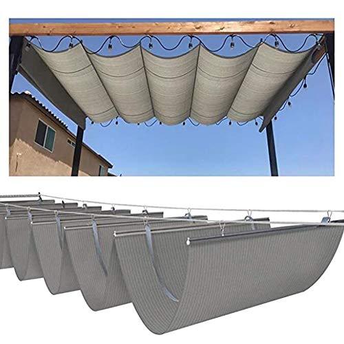 LH-RUG Einziehbar Sonnensegel Dach Welle Überdachung Außenrollos Schatten Spenden Veranda Pergola Deck Pavillon, 47 Größen