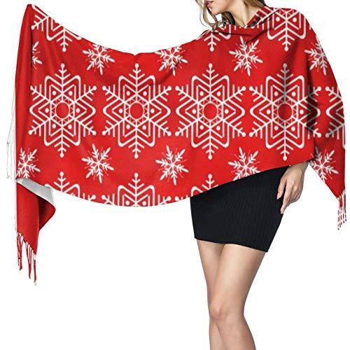Patrón de copo de nieve blanco rojo moderno chic para mujer cálido largo chal envolturas grandes bufandas sensación de cachemira larga bufanda chal bufanda