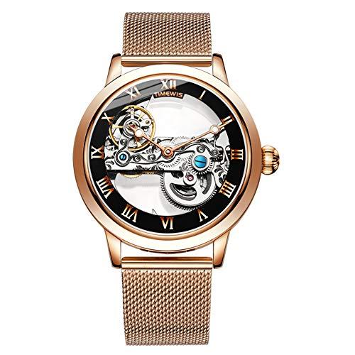 GLxlsbz Herren-Automatikuhr Skelett Glasboden Armbanduhr mit Metallarmband Analog Quarzuhr Lässige Sport Chronograph, Golden Black