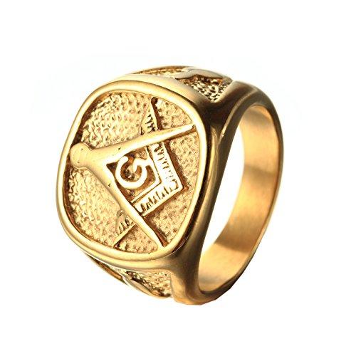 pmtier Hombres de acero inoxidable grabado de la Fraternidad Freemason masónico anillos chapados en oro