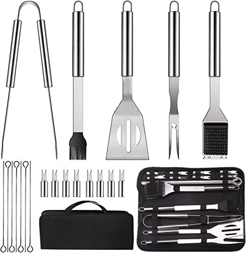Barbecue Accessori,20 Pezzi Utensili Barbecue, Accessori Barbecue Inossidabile ,Kit BBQ Utensili Professionale Perfetti,Barbecue Set Utensili per Grill,Miglior Regalo per Barbecue per Uomini e Donne