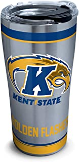 Tervis 1314179 NCAA Kent State Golden Flashes Tradition Stainless Steel Insulated Tumbler with Lid, 20 oz, Silver