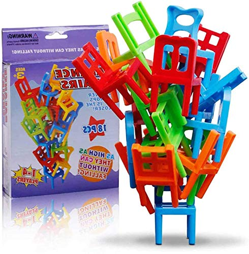 2021 New Chairs Stacking Tower Balancing-Spiel, 18-teiliger Stapel-Hängesessel, Kinder-Balance-Stapelstühle Toy Party Stacking Toys Familien-Puzzle-Brettspiele für Kinder