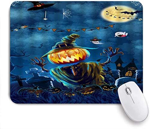 Gaming Mouse Pad rutschfeste Gummibasis, Halloween Kürbis Laterne Aquarell Nacht Mond Fledermaus Zauberhexe Spukhaus Ghost Scarecrow, für Computer Laptop Schreibtisch