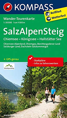 Salz-Alpen-Steig - Chiemsee - Königssee - Hallstätter See: Wander-Tourenkarte. GPS-genau. 1:50000 (KOMPASS-Wander-Tourenkarten, Band 2507)