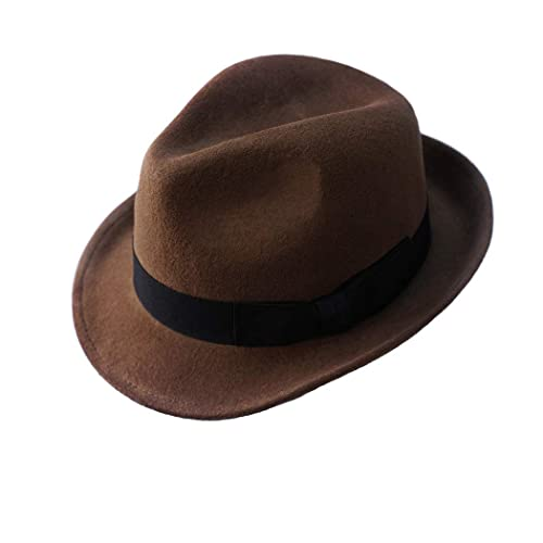 01e181206dfa Wool Trilby Hat Felt Fedora Hats Men Women Dress Wide Brim Gangster Gatsby  Caps with Black