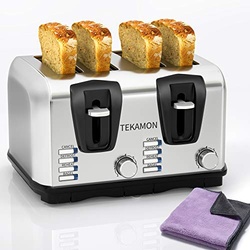 TEKAMON Toaster 4 Slice, Classic Stainless Steel Toaster, Extra Wide Slots, 7 Bread Shade Settings, Bagel/Reheat/Defrost/Cancel Function, Removable Crumb Tray, Lavender Cleaning Cloth
