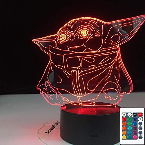 3d Led Night Light Baby Yoda Figura para niños Dormitorio Decoración Niño Regalo Powered Desk Lamp-16 colores con control remoto
