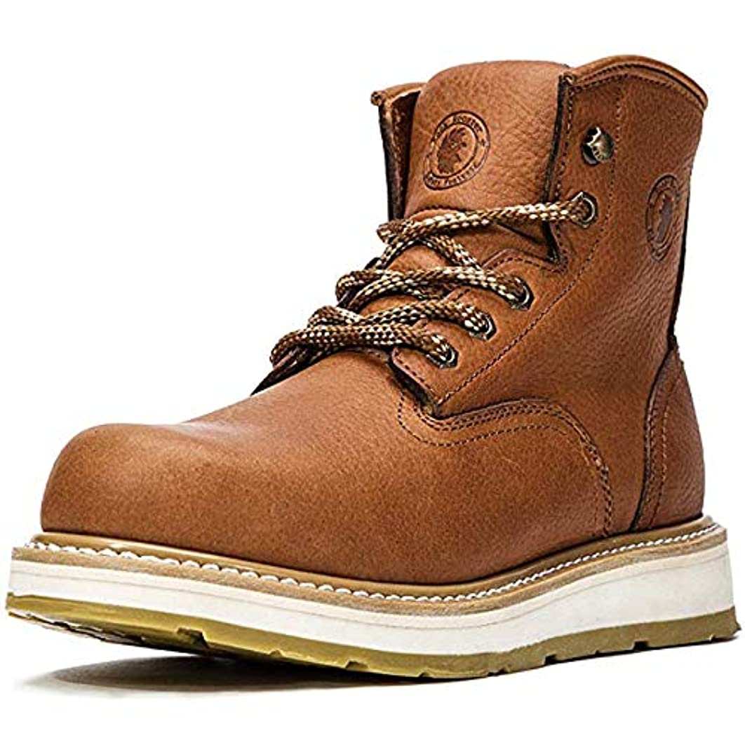 ROCKROOSTER Work Boots for Men, Soft Toe, Safety Water Resistant Leather Shoes, Width EE-Normal AP615