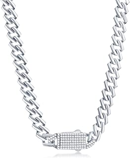 """Beaux Bijoux 9mm Monaco Bracelet and Necklace Chain 8"""", 20"""", 22"""", 24"""" with Micro-Pave Simulated Diamond CZ Safety Box Lock..."""