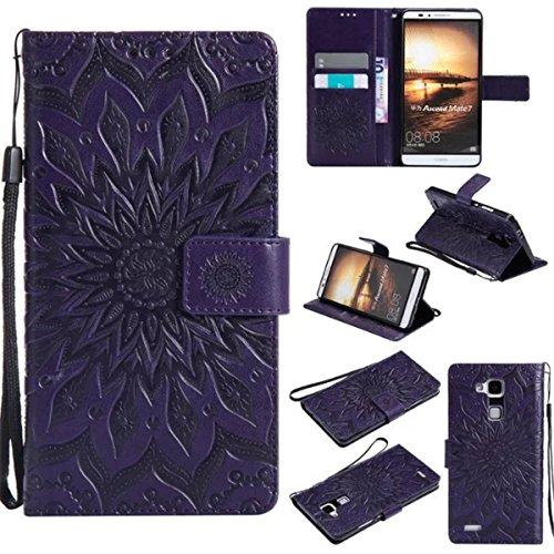 Gift_Source Huawei Mate 7 Hülle, Mate 7 Hülle, [Lila] PU Leder Brieftasche Schutzhülle Lederhülle Tasche Hülle mit Kartenfächer & Standfunktion Flip Wallet case Handyhülle für Huawei Ascend Mate 7