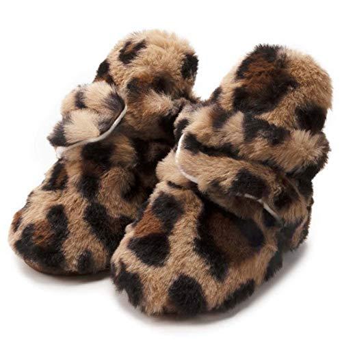 ODSHY 2021 Bebé niña Leopardo Pettern Shoes Fluffy Soft Sole Toddler Botas Zapatos de Calcetines de Catton Infantil (Baby Age : 7 12 Months, Color : K)