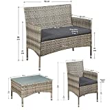 ArtLife Polyrattan Sitzgruppe Fort Myers grau-meliert | dunkelgraue Bezüge | 4 Personen | Lounge Rattanoptik Gartenmöbel-Set für Balkon oder Terrasse - 2