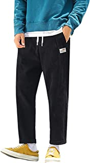 Corduroy Pants for Men, Solid Color Loose Harem Pants Casual Baggy Joggers Trousers Fit Track Pants for Leisure Sports
