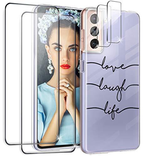 Croazhi Handyhülle Kompatibel mit Samsung S21 Hülle mit Panzerglas Schutzfolie (2Pcs) + Kamera Panzerglas (2Pcs), Galaxy S21 5G Schutzhülle Hülle Silikon Transparent Marmor Blumen Muster Dünn