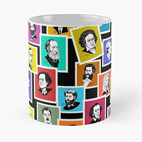 Pattern with Portraits of The Greatest Composers (Coloured Version) - The Best White Marble Ceramic Coffee Mug 11 Oz !