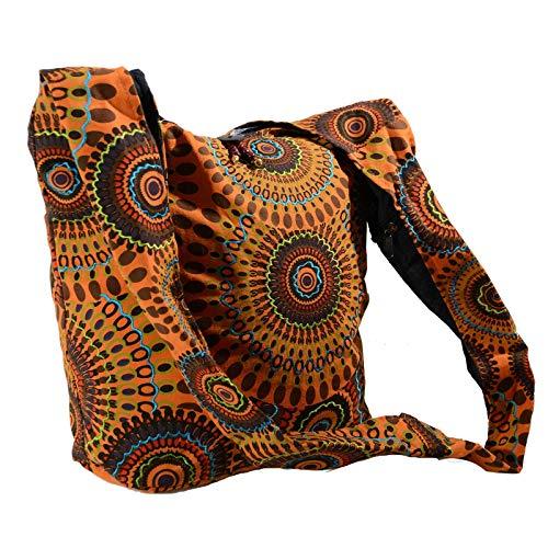 KUNST UND MAGIE Schultertasche Umhängetasche mit bunten Psy Mustern, Farbe:Orange