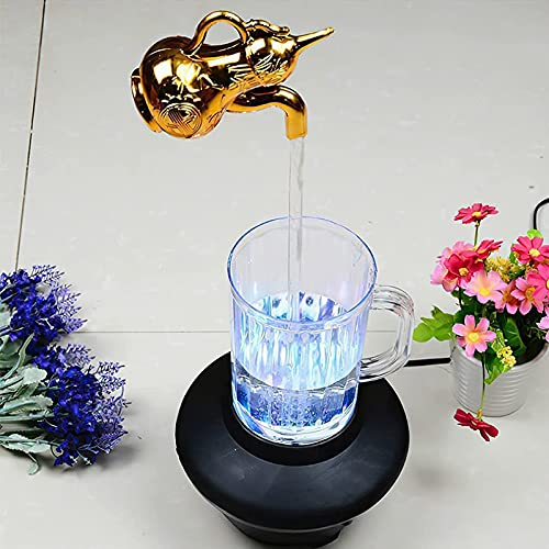 2021 New Invisible Flowing Spout Watering Can Fountain, Floating Tap Fountain, Color Changing Magic Faucet Mug Fountain Desktop Waterfall Fountain - DIY Yard Art Decor (A)