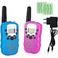Lomoo Walkie Talkie Recargable de hasta 3 KM PMR 446MHz con 8 Canales Walkie Talkies con Batería Recargable y Cargador - (1 Par, Azul y Rosa)