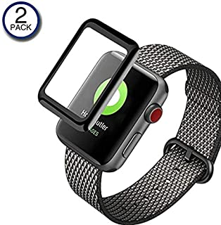 Apple Watch Series 4用3Dウォッチスクリーンプロテクター強化ガラス(44mm)、[非接着剤] [2パック] iWatch 4アルミニウム用ウルトラクリア3Dタッチスクリーンプロテクター保護フィルム2018 Apple iWatch 4(44mm)
