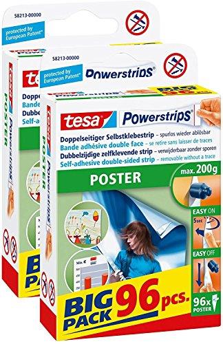 2er Vorteilspack tesa Powerstrips Strips POSTER, Big Pack 2x 96 Stück (2, POSTER, Big Pack 96 Stück)