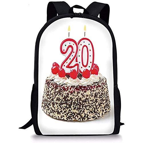Hui-Shop Mochilas Escolares Decoraciones del vigésimo cumpleaños, Cerezas espolvoreadas en una Fiesta de cumpleaños Pastel 20 y Young Photo, Multicolor para niños Niñas