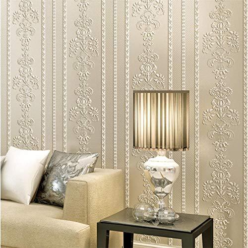 Vliestapete Stripes Tapete Vliestapete 3D klassisch barock Stereo Damascus Stripe Beige Wand Dekoration für Wohnzimmer Schlafzimmer Fernseher Hintergrund - Beige