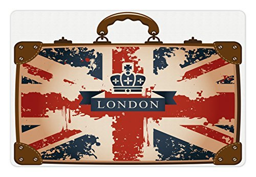 Ambesonne Union Jack Pet Mat for Food and Water, Vintage Travel Suitcase with British Flag London Ribbon and Crown Image, Non-Slip Rubber Mat for Dogs and Cats, 18