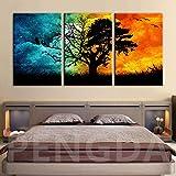 Geiqianjiumai HD Imprimir Imagen Cielo Estrellado árbol Paisaje decoración del hogar Lienzo póster Arte de la Pared Lienzo Pintura sin Marco Pintura 60X90 cm