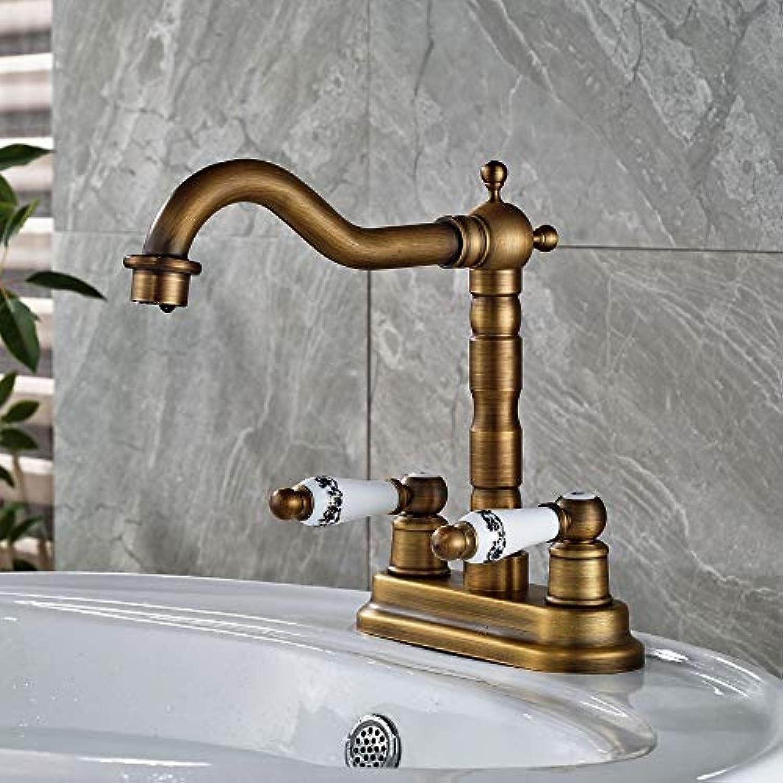 Floungey BadinsGrößetionen Waschtischarmaturen Küchenarmaturen Messing Becken Wasserhahn Doppel Keramik Griffe Mischbatterie Deck Montiert