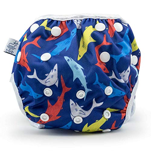 Eco-Friendly Reusable Baby Swim Diapers (Sizes N-5) - Adjustable, Easy-Wash Nageuret Reusable Swim Diaper Boys & Girls - Soft, Breathable, Waterproof Swim Wear for Baby & Newborn! (Sharks)