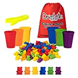 Driddle Colorful Counting Bears with Matching Cups - 60 Bears - Sort, Count & Color Recognition Learning Toy for Toddler & Kids - Montessori Education - Preschool Game